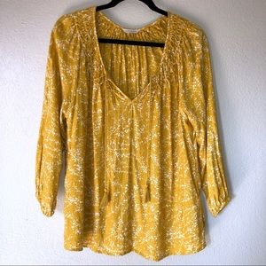 Lucky Brand mustard yellow printed blouse